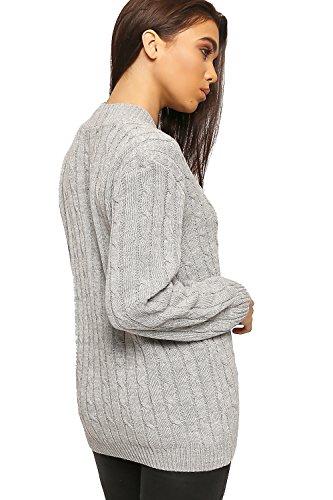 WearAll - Câble-tricoté pull top avec manches longues et col V haut - Tailles 36 à 44 Gris Clair