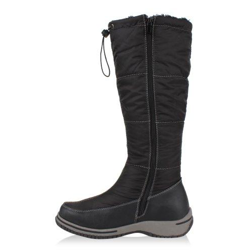 Stiefelparadies Warm Gefütterte Damen Stiefeletten Winterboots Stiefel Schuhe Flandell Schwarz Weiss Grau