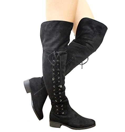 Saute Styles , Bottes cuissardes femme Daim noir