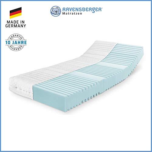 RAVENSBERGER Orthopädische | 7-Zonen-HYBRID-Kaltschaumkomfortmatratze | RG 40 Härtegrad 3 (80Kg bis 120Kg) | Made IN Germany - 10 Jahre GARANTIE | Baumwoll-Doppeltuch-Bezug | 100 x 200 cm