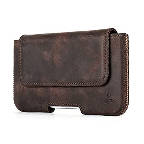 Snakehive® Premium Leather Pouch Case Holster with Belt Loop for Apple iPhone 6/6s (Chestnut Brown)