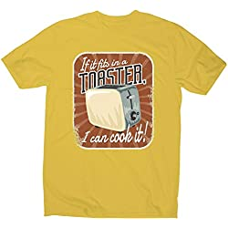 Graphic Gear T-Shirt Humoristique pour Homme Inscription Toaster - Jaune - L