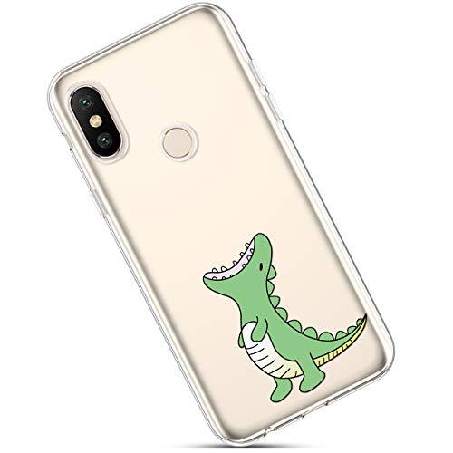 Felfy Funda Compatible con Xiaomi Mi 6X Carcasa,Compatible con Funda Xiaomi Mi A2 Transparente Silicona,Moda Pintado Patrón Ultra Delgado Anti-Arañazos TPU Case.Dinosaurio