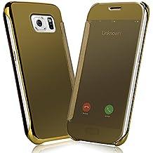 Samsung Galaxy S6 Funda - NextMall Flip Case [Vista Clara Cover ]PU Cuero Ultra delgado Espejo Protective Dura Carcasa para Galaxy S6 - dorada