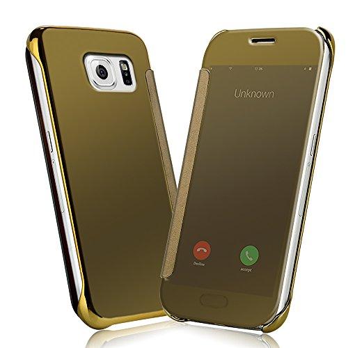 Samsung Galaxy S6 Funda - NextMall Flip Case [Vista Clara Cover ]PU Cuero Ultra delgado Espejo Protective Dura Carcasa para Galaxy S6 -