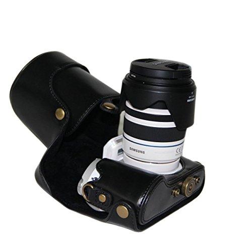 MegaGear Ever Ready Schwarz Leder Kamera, Tasche für Samsung NX300 Smart Wi-Fi Digital Camera mit 18-55mm Objektiv und 20-50mm Objektiv Digital Kamera