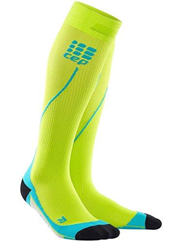 CEP - RUN SOCKS 2.0, long running socks for men, green / light blue, size IV, compression sport socks