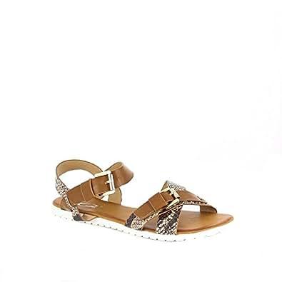 Ideal Shoes - Sandales plates avec lanières imprimé reptile Naila Marron 39