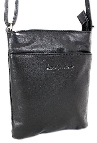 Jennifer Jones Taschen Damen 100% Leder Damentasche Handtasche Schultertasche Umhängetasche Tasche klein Crossbody Bag grau / schwarz / taupe (6124) (Schwarz) Leder Taschen Schwarz