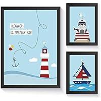 Kinderzimmer maritim-Personalisiertes Geschenk zur Geburt mit Bilderrahmen