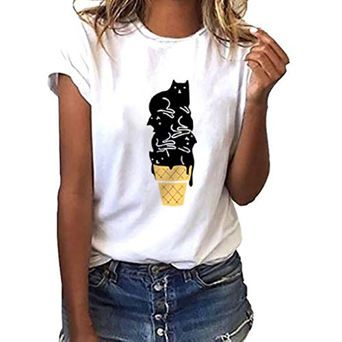 CUTUDE Damen T Shirt, Bluse Kurzarm Sommer Volltonfarbe Cat Drucken Lose Casual Weste Oberteil Top Mode 2019 ()