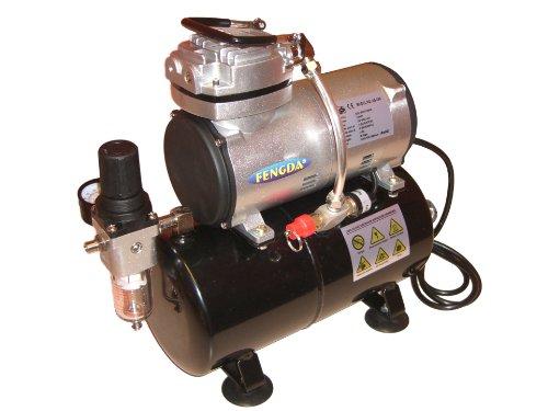 Airbrush Kompressor AS-186 Neues Modell Kolbenkompressor Ölfrei 3 Liter Luftbehälter / Luftspeicher 3 Liter Modell