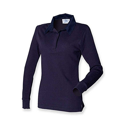 Front Row Ladies Long Sleeve Plain Cotton Rugby Shirt Navy/White