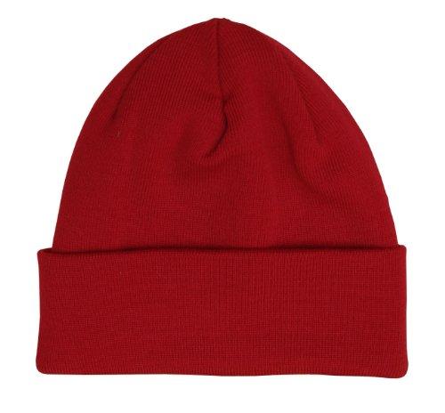 HANSEHELD Strickmütze 100% Schurwolle Merino Feinstrickmütze, One Size, rot Rote Mütze