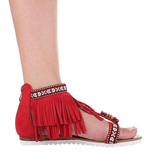 Damen Schuhe, D-1, SANDALEN FRANSEN ZEHENTRENNER Rot