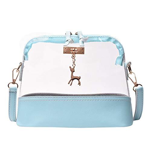Dorical Transparent Schultertasche Mode Frau Kitz Shell Umhängetasche,Messenger Bag, Strandtasche, Mädchen mit Verstellbarem und abnehmbarem Schultergurt, Handtasche(Blau)