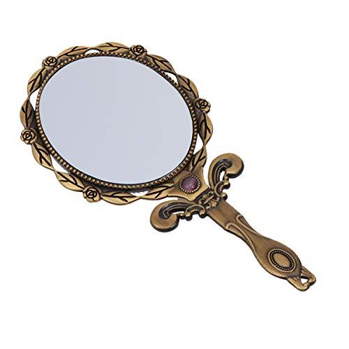 Lurrose Espejo de Mano Vintage Metal pequeño Espejo de Maquillaje Espejo de vanidad Plegable Bronce...