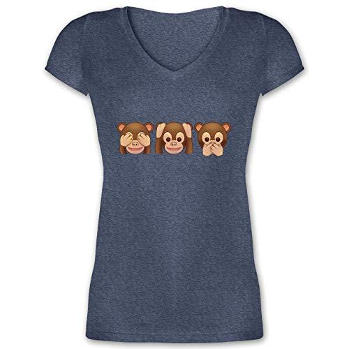 Comic Shirts - Äffchen Emoji - S - Dunkelblau meliert - XO1525 - Damen T-Shirt mit V-Ausschnitt