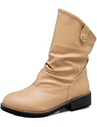 TAOFFEN Damen Fashion Flache Slouch Boots Half Slip On Western Stiefel