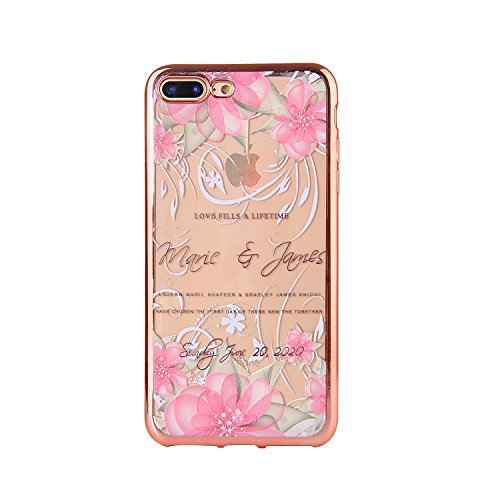 Apple iPhone 7 Plus 5.5 Hülle, Voguecase Schutzhülle / Case / Cover / Hülle / TPU Gel Skin (Lila Schmetterling 04) + Gratis Universal Eingabestift Pfaublume