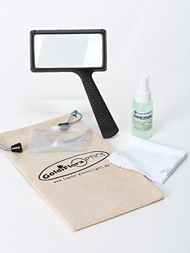 GOLDIFLORA OPTICS - MG 84026 - Leselupe mit Glaslinse - 2x fache Vergrößerung - Linsendurchmesser 100x50mm + 1 Reinigungsset