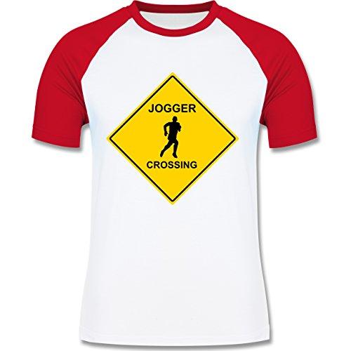 Laufsport - Jogger - zweifarbiges Baseballshirt für Männer Weiß/Rot