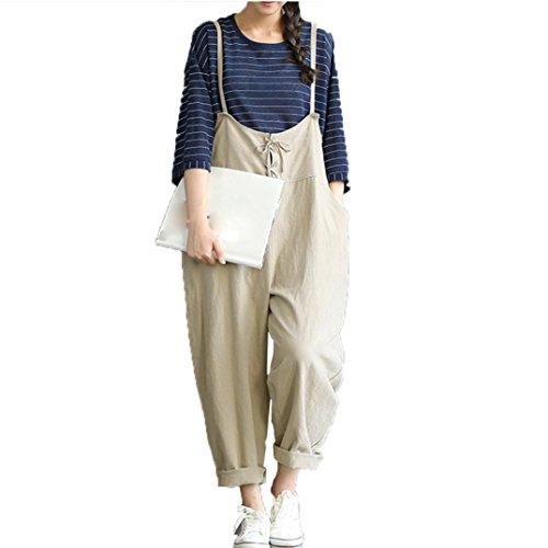 Kostüme Shorts Overall (LSAltd Damen Baggy Lätzchen Hosen jumpsuit, lose Casual Hosen Overall Harness Hosen (Beige,)