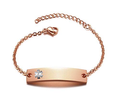 PJ JEWELRY Personalisierte Bar graviert Benutzerdefinierte kostenlose Gravur Medical Alert ID Armband für Frauen Mädchen, Einstellbar (Medical Alert Armband Frauen)