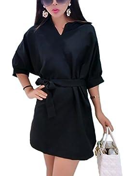Minetom Mujer Verano Otoño Elegante Camisetas Vestidos Casual V Cuello Mitad Manga Bowknot Túnico Blusas Faldas