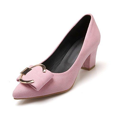 VogueZone009 Femme Pointu Tire Dépolissement Couleur Unie à Talon Correct Chaussures Légeres Rose