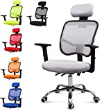 EUCO Reclining Office Chair Back Support Grey Executive Mesh Chair High Back Adjustable