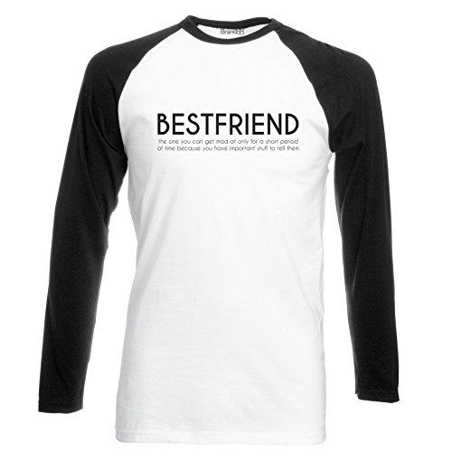 Brand88 - Bestfriend, Langarm Baseball T-Shirt Weiss & Schwarz