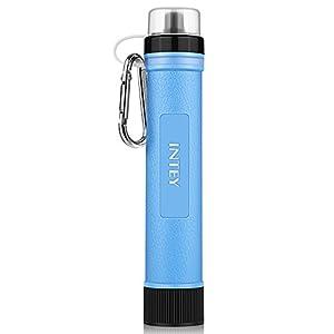 INTEY Wasserfilter TragbarerCamping Wasseraufbereitung, Mini Trinken Water Filter Reiniger für unterwegs, ideal für lange Wandertouren und Outdooraktivitäten, Blau