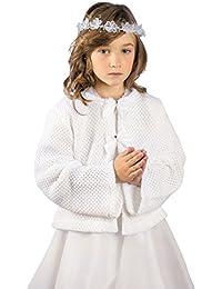 MGT-Shop Mädchen Kommunionbolero Kommunionsbolero Kommunionsjacke Kommunionjacke Cape Bolero Jacke MK-30 weiß