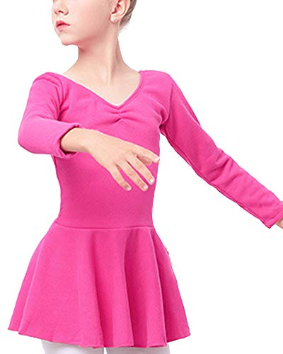 Mengmiao Kinder Mädchen Ballerina Kinderkostüm Tutu Lange Ärmel Plus Samt Rose 130