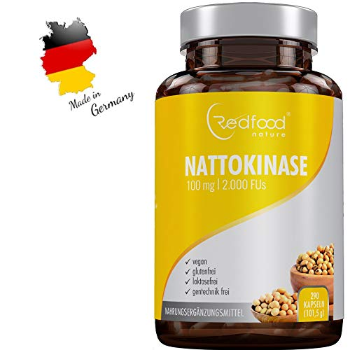 Redfood® Nattokinase 100mg 2000 FU 290 Kapseln Vegan hohe Bioverfügbarkeit ohne Magnesiumstearat ohne K1 K2 mit Analyse Zertifikat