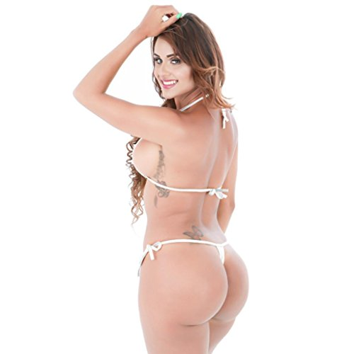 Kword Bikini Donne Eye-Catching Lucido Bikini Micro Halter Top + G-String Set Costume Da Bagno Bikini Set Beachwear bikini argento