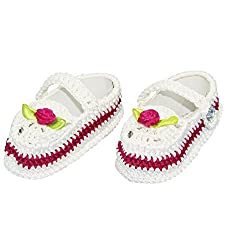 Wonderkids White and Pink Booties (0 to 6 months)