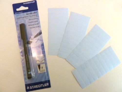 40 einfarbig blau zum Aufbügeln Name Bänder mit schwarz permanent Wäsche Markier Stift - Namensschild Etiketten - ideal für Kinder Schuluniform oder Krankenpflege / Pflege Häuser