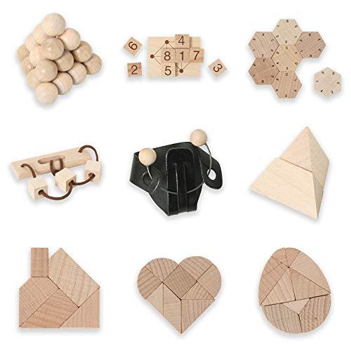 Bartl 500267 Knobelspiele aus Holz Puzzle Set D (9 Puzzles) Geschicklichkeitsspiele für Erwachsene und Kinder