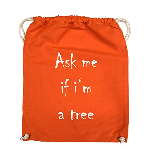 Comedy Bags - Ask me if i'm a tree - Turnbeutel - 37x46cm - Farbe: Schwarz / Silber Orange / Weiss