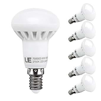 LE 6W R50 E14 Lot de 5 Ampoule LED, 45W Ampoule à Incandescence Équivalent, 480lm, Blanc Chaud, 2700K, 120° Larges Faisceaux, Ampoule LED R50, Culot E14