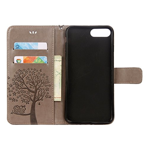 Custodia iPhone 7 Plus, ISAKEN Custodia iPhone 7 Plus, iPhone 7 Plus Flip Cover con Strap, Elegante borsa Albero Design in Sintetica Ecopelle Sbalzato PU Pelle Protettiva Portafoglio Case Cover per Ap Gatto: grigio