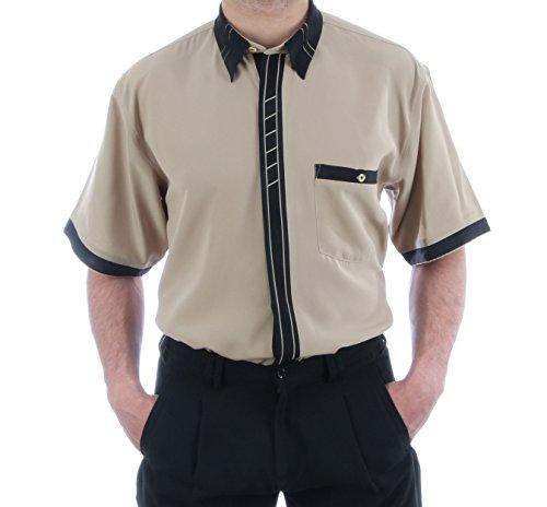 Designerhemd in Beige, für Herren BESTE QUALITÄT, HK Mandel Freizeithemd Kurzarm Normal Nicht Tailliert, 20709 Beige