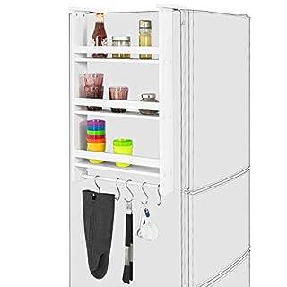 SoBuy® FRG150-W, Refrigerator Hanging Shelf, 3 Tiers Kitchen Shelf Spice Rack Kitchen Cabinet, White