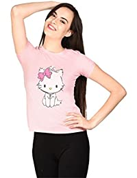 LetsFlaunt Cute Kitty T-shirt Pink Girls Dry-Fit Nw