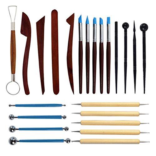 Poualss 23 Pcs Sculpture Tools, Modelliermasse Sculpting Tools, hölzerne Punktierwerkzeuge, Gummispitzenstifte, Kugelschreiber-Werkzeug, Modellierwerkzeuge Keramikwerkzeuge