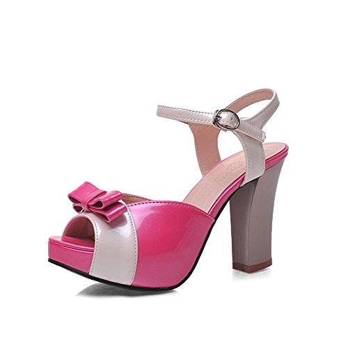 VogueZone009 Damen Gemischte Farbe Fischkopf Schuhe Pu Leder Schnalle Sandalen Mit Hohem Absatz Rot