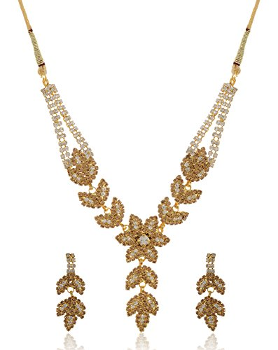 Stunning Queen Gold Plated Strand Necklace Set for Women (SQ063)  available at amazon for Rs.399