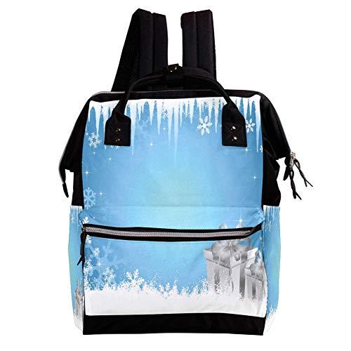 Schnee Hintergrund Wickelrucksack Wickeltasche große Kapazität der Mehrfachtasche für Mutterschaftsbabywindeländerung Mama Multifunktionsreiserucksack,27x19.8x36.5cm (Hintergrund Schnee)